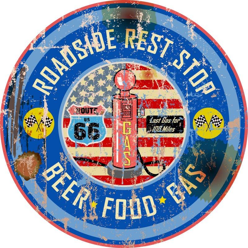 Rétro signe américain de station service, style sale, vecteur illustration libre de droits
