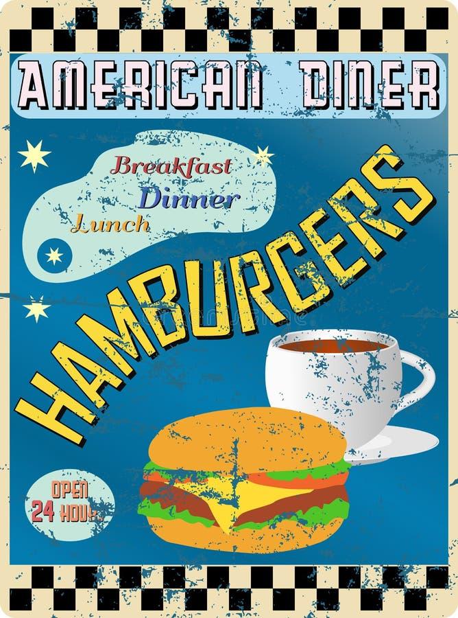 Rétro signe américain de wagon-restaurant illustration libre de droits
