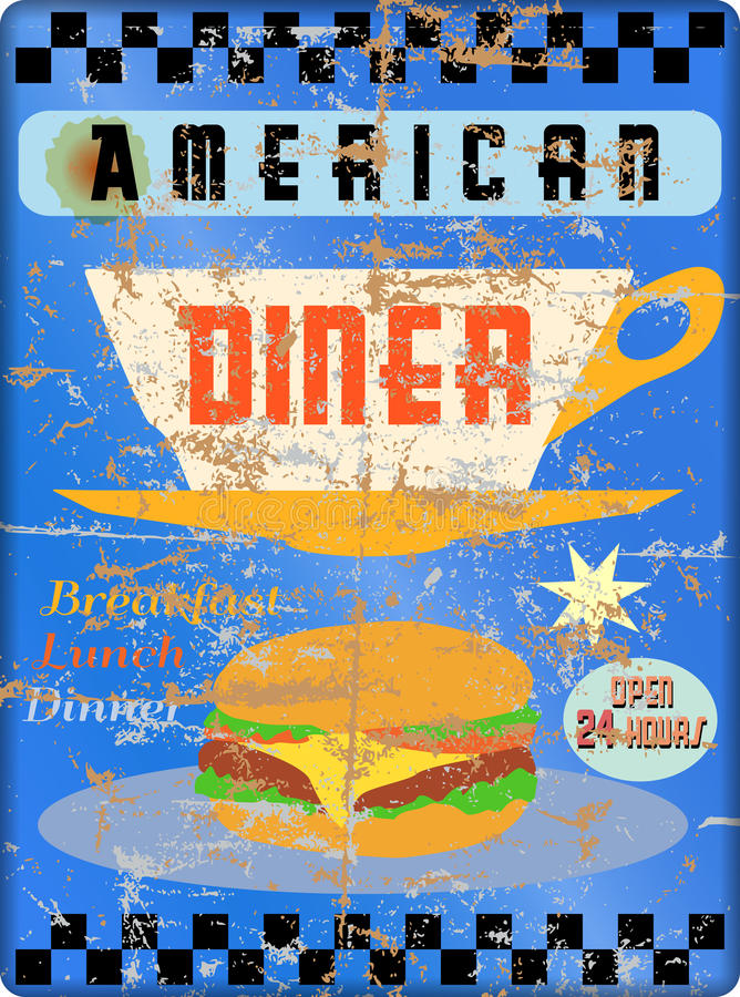 Rétro signe américain de wagon-restaurant, illustration de vecteur