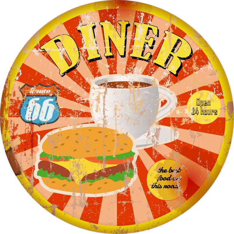 Rétro signe américain de wagon-restaurant, style sale superbe, illustration de vecteur illustration de vecteur