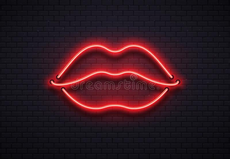 Rétro signe au néon de lèvres Baiser romantique, embrassant les lampes au néon rouges de barre de lèvre de couples et le vecteur  illustration de vecteur