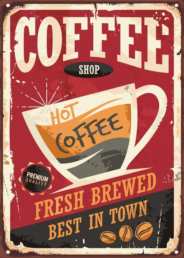 Rétro signe de bidon de café avec la tasse de coffe et le message promotionnel illustration de vecteur