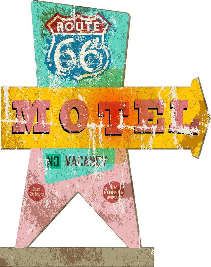 Rétro signe de motel de l'itinéraire 66 illustration libre de droits
