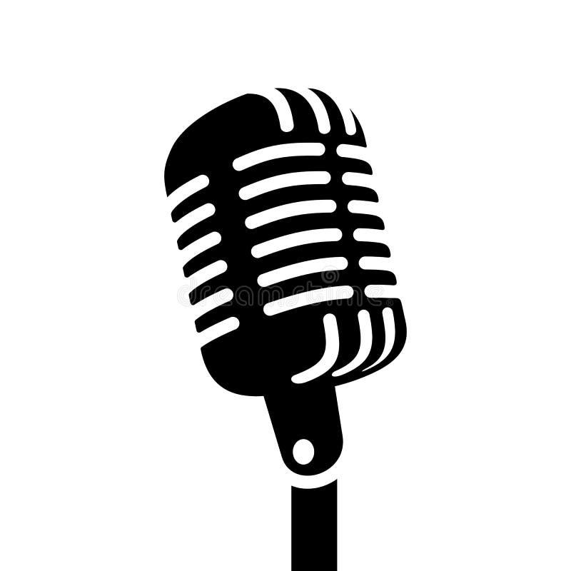 Rétro signe de vecteur de microphone illustration de vecteur