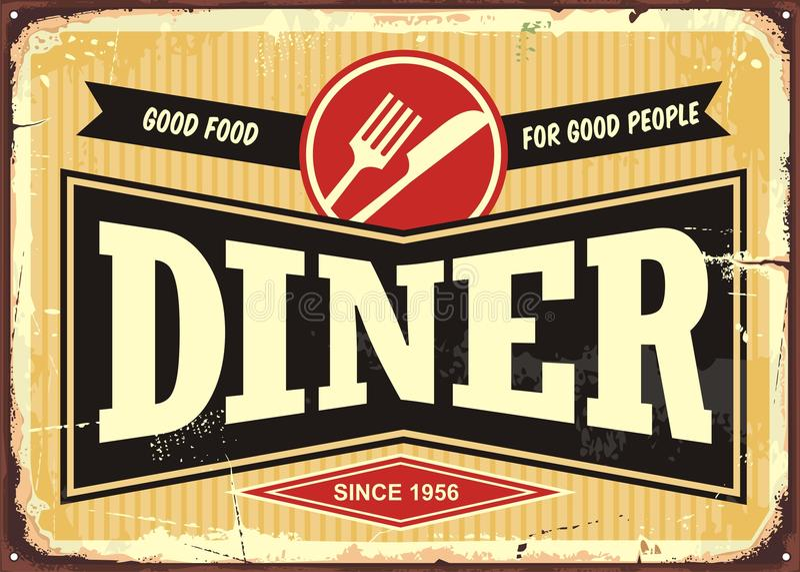 Rétro signe de wagon-restaurant illustration stock