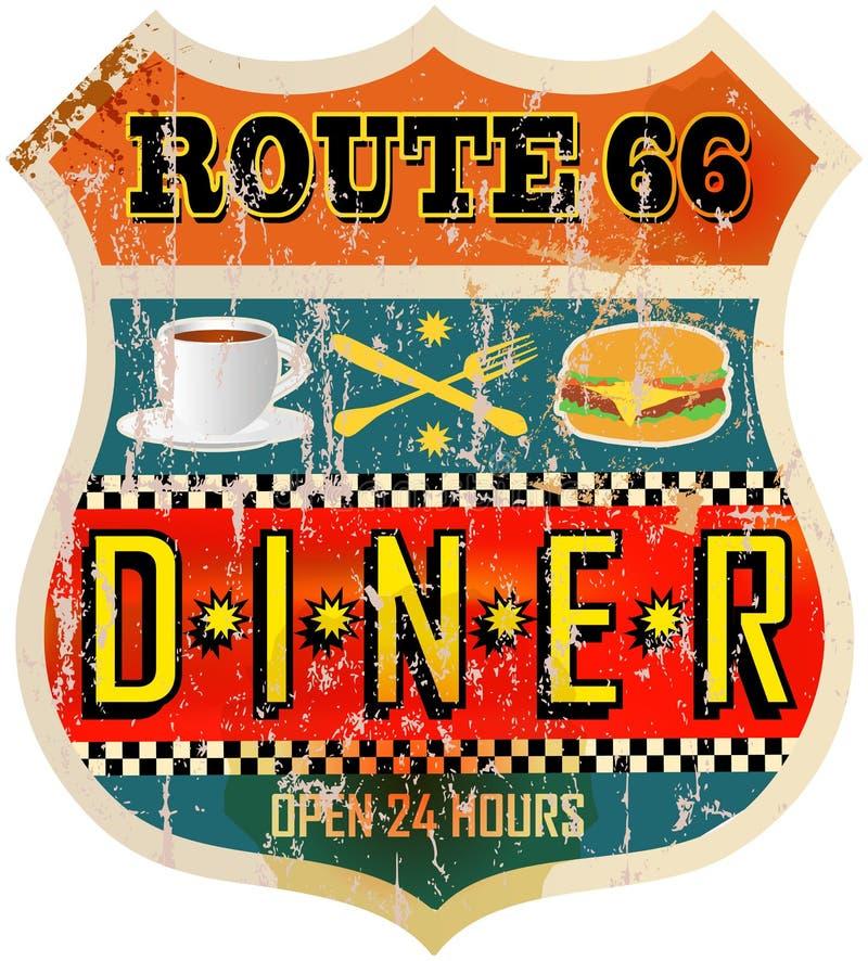 Rétro signe de wagon-restaurant illustration de vecteur