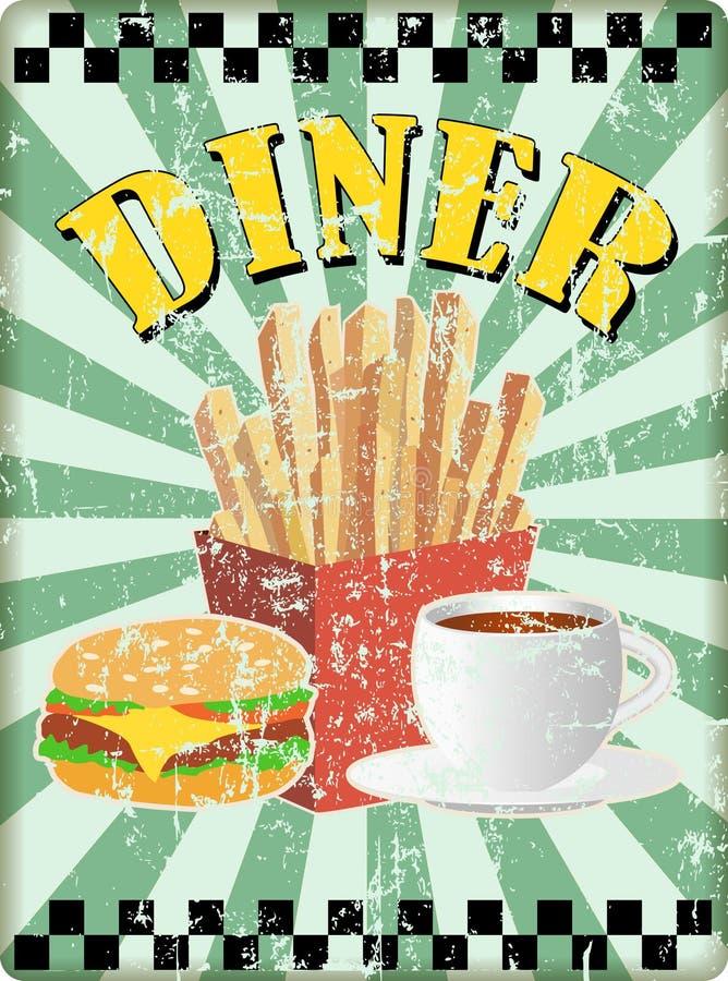 Rétro signe de wagon-restaurant d'années '50 avec des pommes frites hamburgers et cofee L'espace d'exemplaire gratuit, vecteur illustration libre de droits