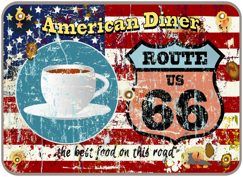 Rétro signe de wagon-restaurant de l'itinéraire 66 illustration de vecteur