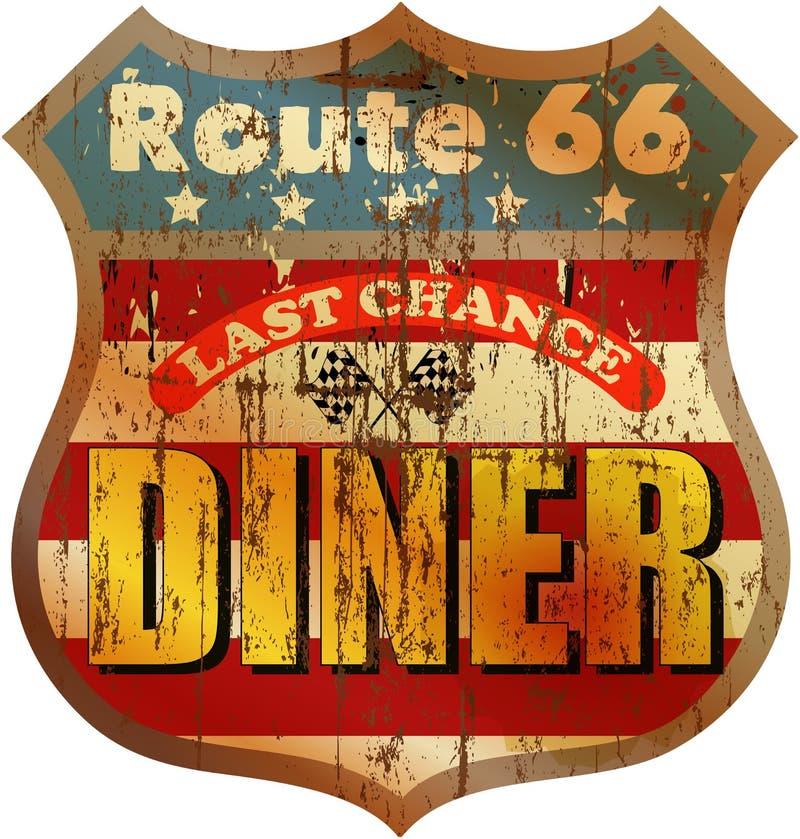 Rétro signe de wagon-restaurant de l'itinéraire 66, vecteur ENV 10 illustration libre de droits
