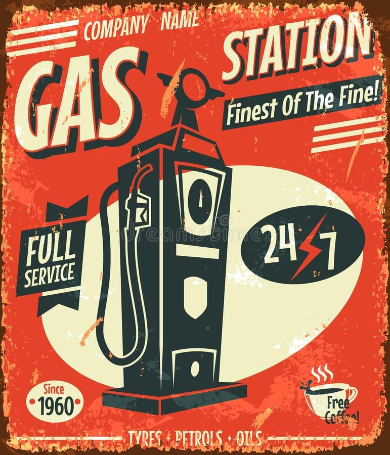 Rétro signe grunge de station service illustration libre de droits