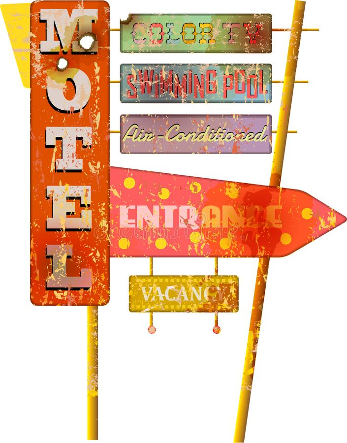 Rétro signe grunge superbe de motel de l'itinéraire 66, vecteur illustration libre de droits