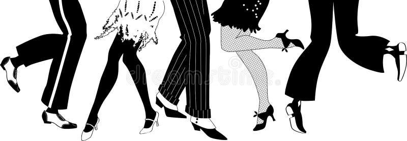 Rétro silhouette de partie illustration de vecteur