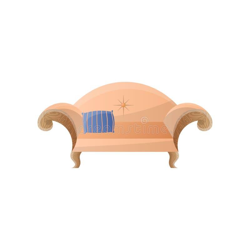 Rétro sofa crémeux dans le style baroque avec les bras arrières et incurvés arqués images libres de droits