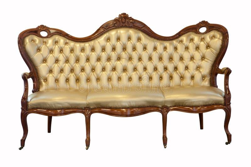 Rétro sofa en cuir en bois de divan photographie stock