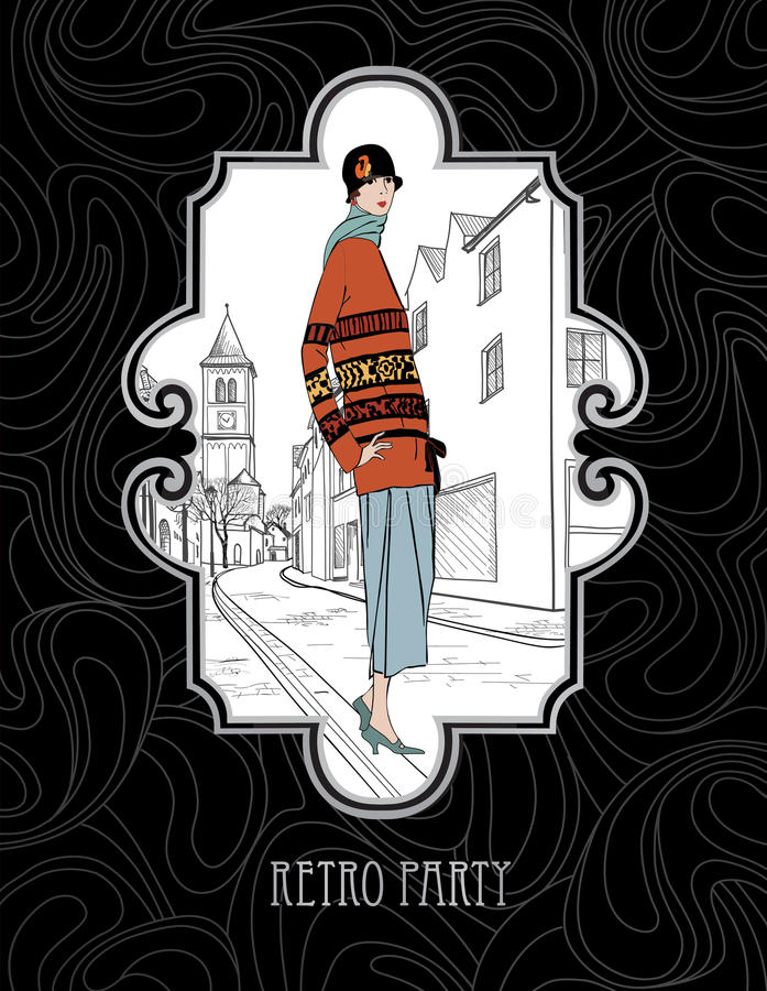 Rétro style de la fille en 1930 s de mode au-dessus de vieux fond européen d'art déco de rue illustration de vecteur