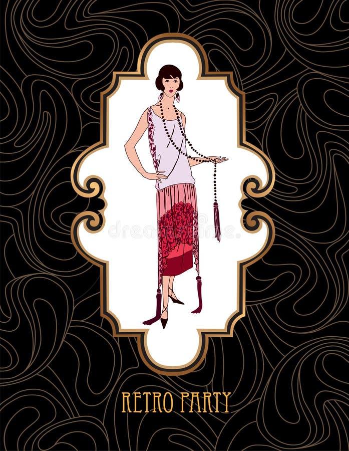 Rétro style de mode d'Art Girl en 1930 s d'agrafe illustration stock
