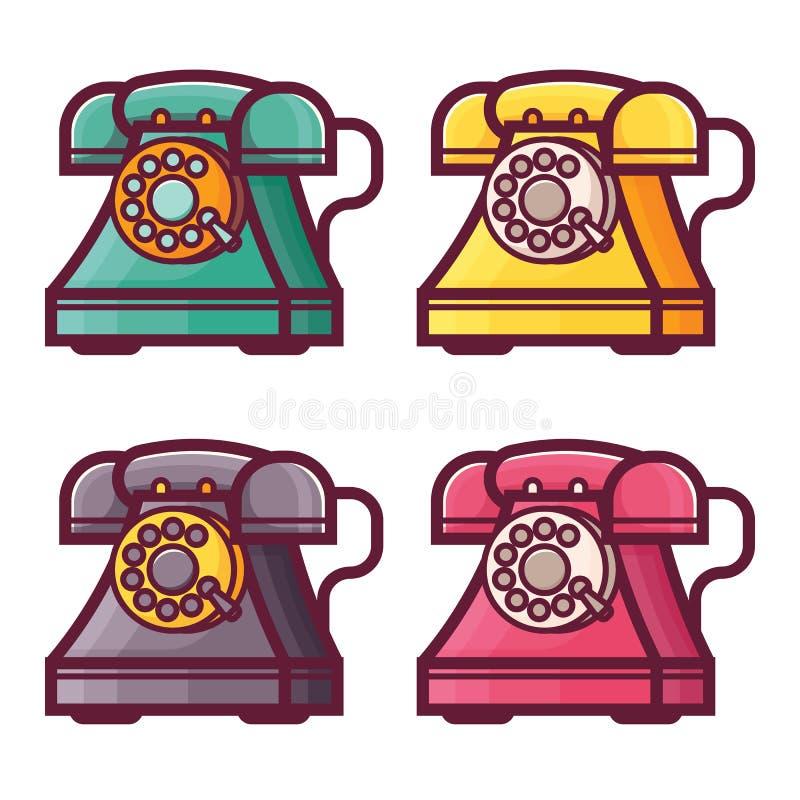 Rétro téléphone avec des icônes de cadran rotatoire illustration stock