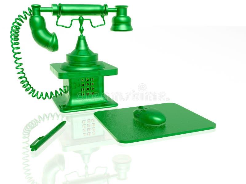 Rétro téléphone avec le clavier, le crayon lecteur et la souris illustration de vecteur
