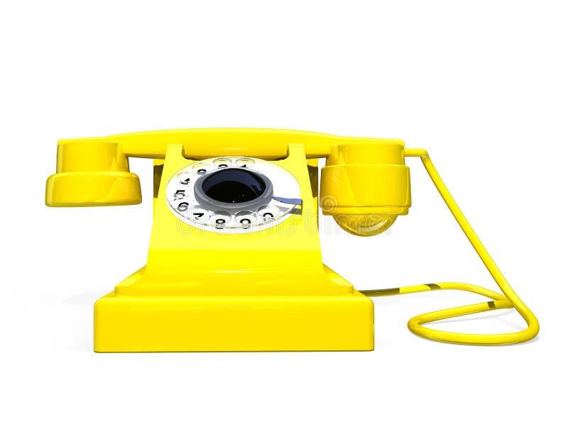 Rétro téléphone jaune illustration stock