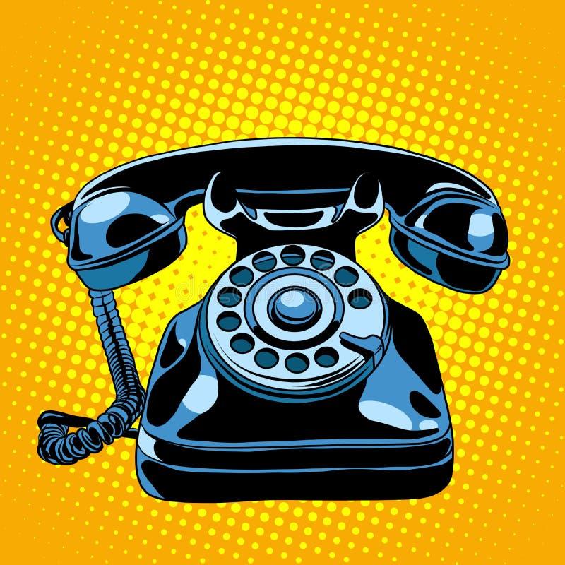Rétro téléphone noir illustration stock