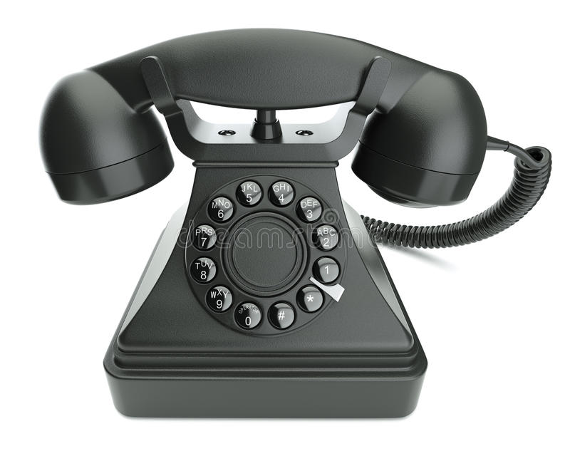 Rétro téléphone noir illustration de vecteur