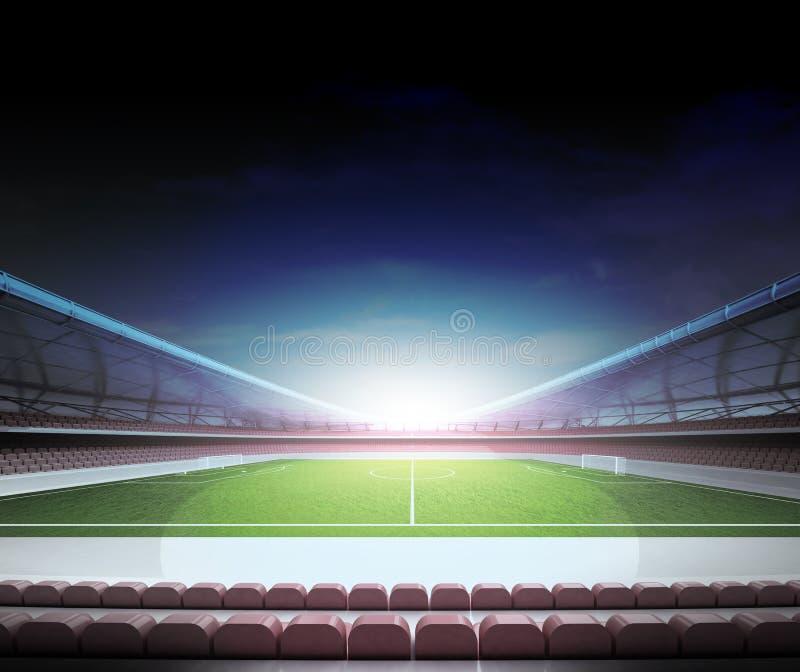 Rétro télévision dans la zone centrale du stade de football illustration libre de droits