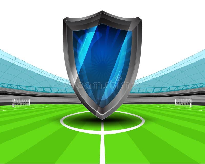 Rétro télévision dans la zone centrale du vecteur de stade de football illustration libre de droits