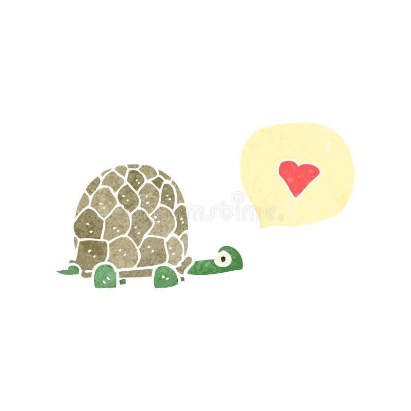 rétro tortue de bande dessinée dans l'amour illustration de vecteur