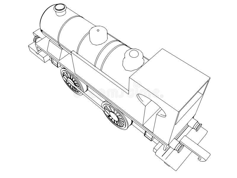 Rétro train de vecteur, symbole de vecteur de vintage illustration libre de droits