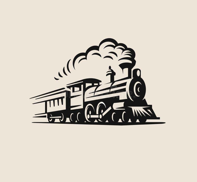 Rétro train, emblème de vintage illustration libre de droits