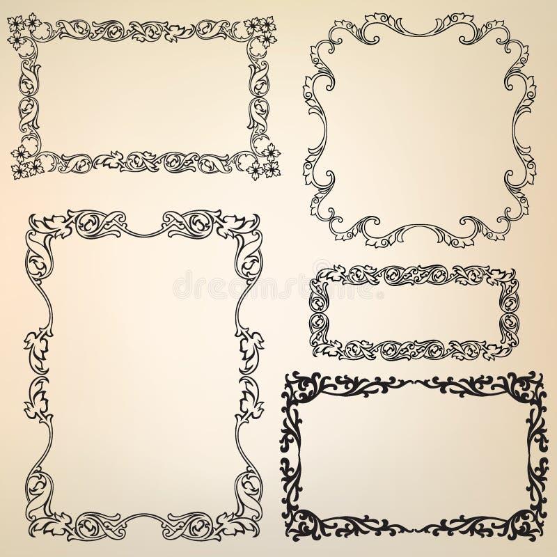 Rétro trame florale calligraphique de victorian illustration stock