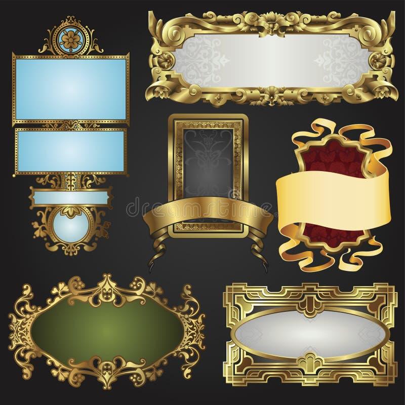 Rétro trames et étiquettes d'or de cru illustration de vecteur