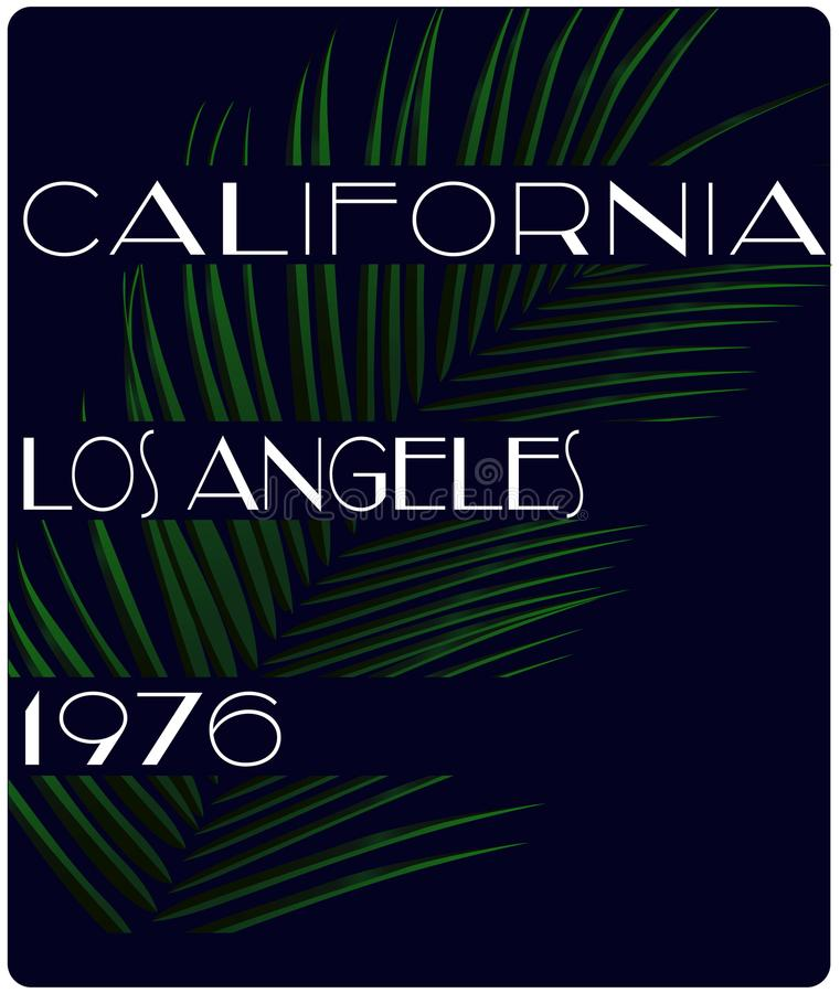 Rétro tropi de conception de vecteur de style d'été de slogan de la Californie de vintage illustration stock