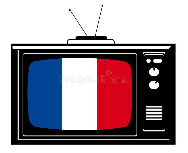 Rétro TV avec l'indicateur de la France illustration libre de droits