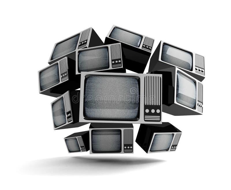Rétro TV avec la charge statique. illustration de vecteur