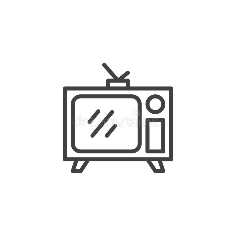 Rétro TV avec la ligne icône d'antenne illustration stock