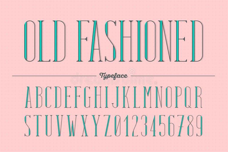 Rétro type à la mode démodé style, alphabet, oeil d'un caractère illustration libre de droits