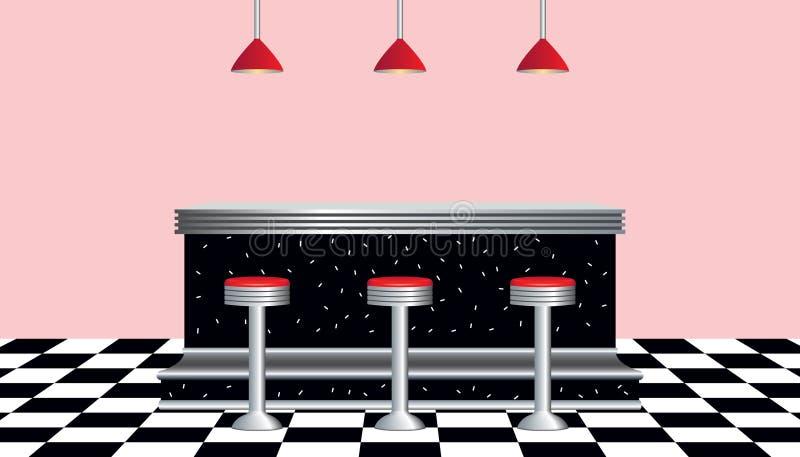 Rétro type des années 50 de wagon-restaurant illustration libre de droits
