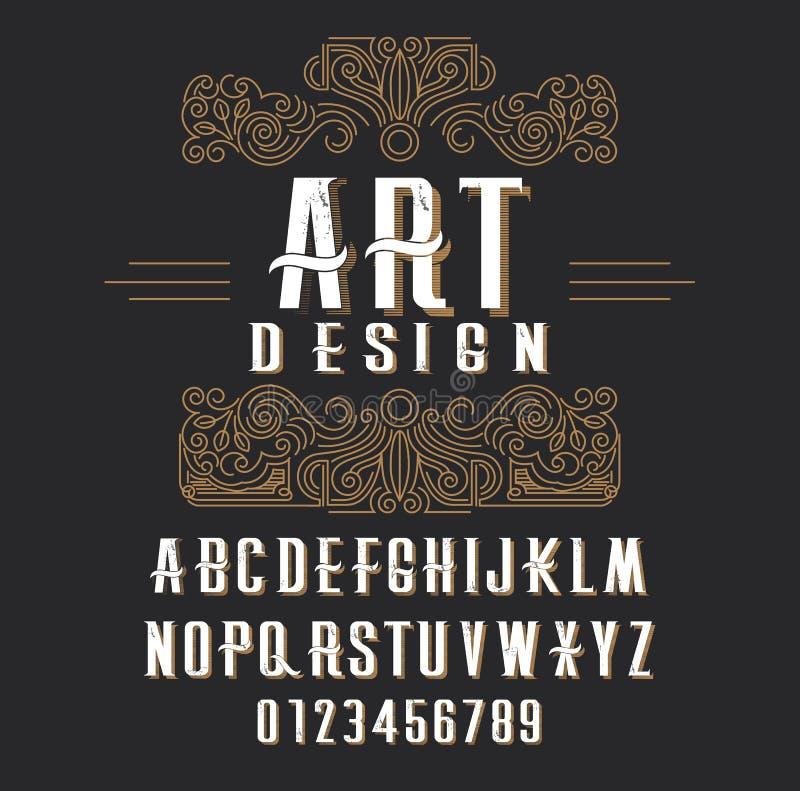 Rétro type police, type lettres, nombres et cadre floral avec l'espace de copie pour le texte ou la lettre illustration de vecteur