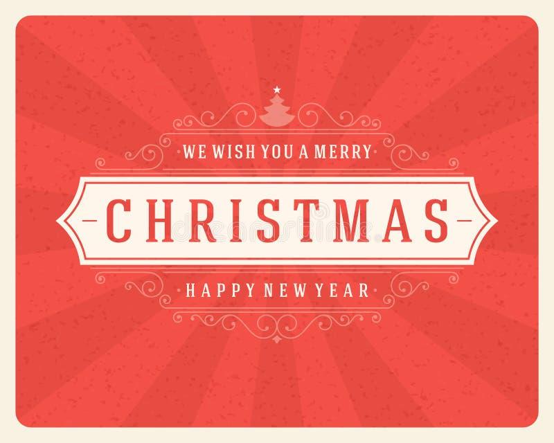 Rétro typographie de Noël et décoration d'ornement illustration de vecteur