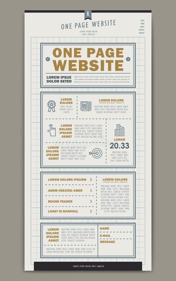 Rétro une conception de calibre de site Web de page illustration stock