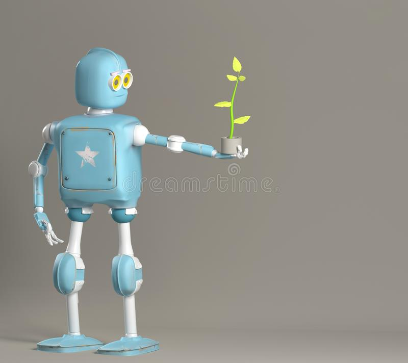 Rétro usine de prise de robot, droid avec la pousse, 3d rendre illustration libre de droits
