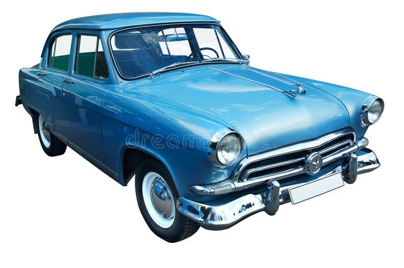Rétro véhicule bleu classique d'isolement photographie stock libre de droits