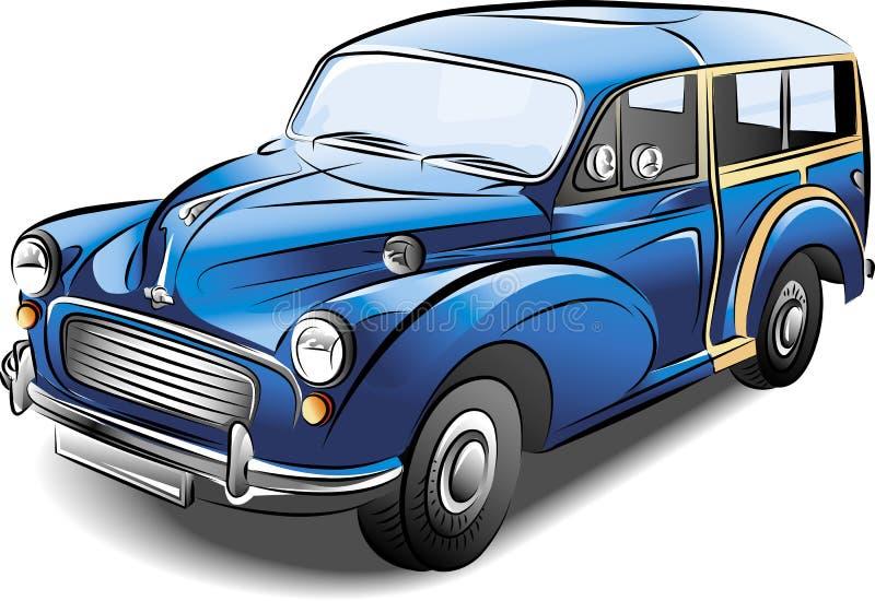 Rétro véhicule bleu de vecteur illustration de vecteur