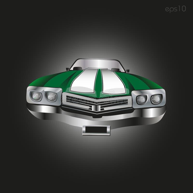 Rétro véhicule vert illustration de vecteur
