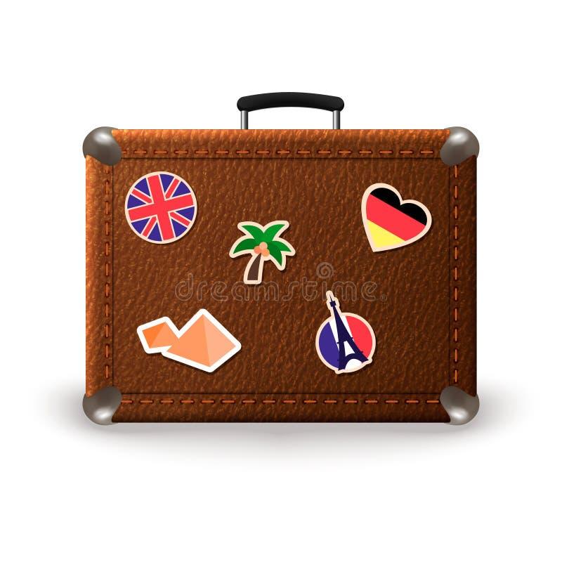 Rétro valise de vintage avec des autocollants de voyage Vieux sac en cuir de bagage avec des autocollants des Frances, Allemagne, illustration stock