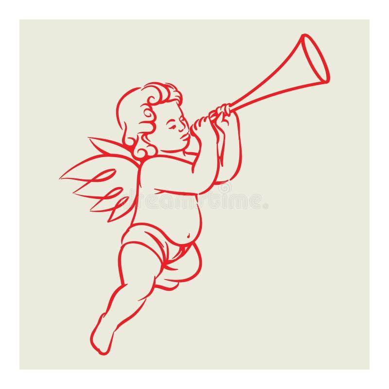 Rétro vecteur d'ange illustration stock