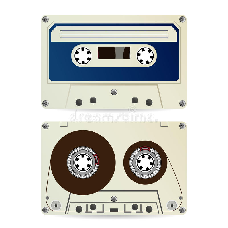 Rétro vecteur de cassette sonore Bande audio classique de vintage illustration libre de droits