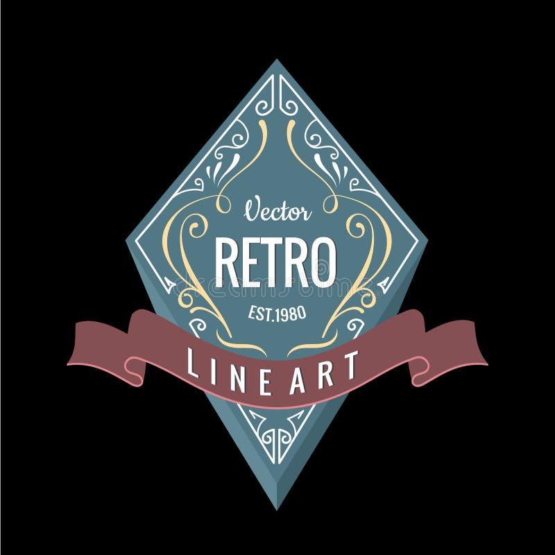 Rétro vecteur de la conception 3d de bannière de logo occidental illustration libre de droits