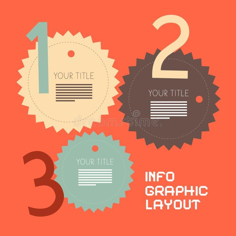 Rétro vecteur de papier Infographics de trois étapes illustration de vecteur